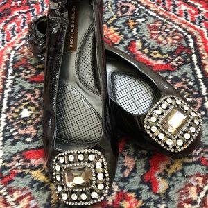 Adrienne Vittadini Black Sparkle Flats Sz 6.5